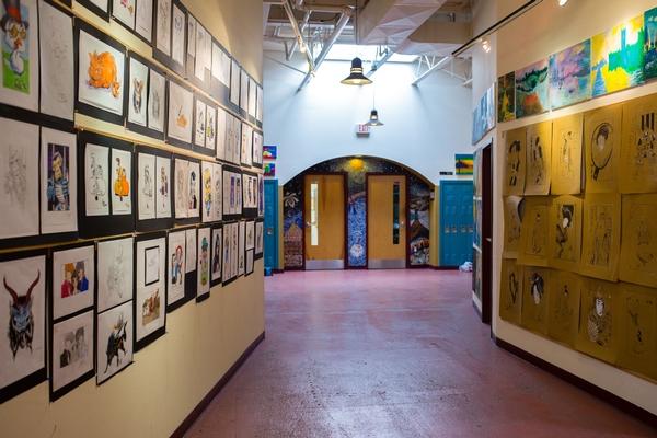 High School Hallway with Art