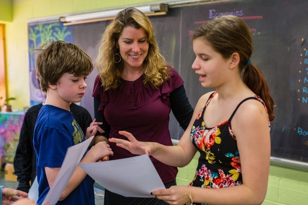Teaching talking with two students