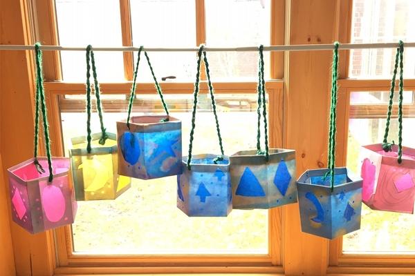 Cheerful lanterns in window