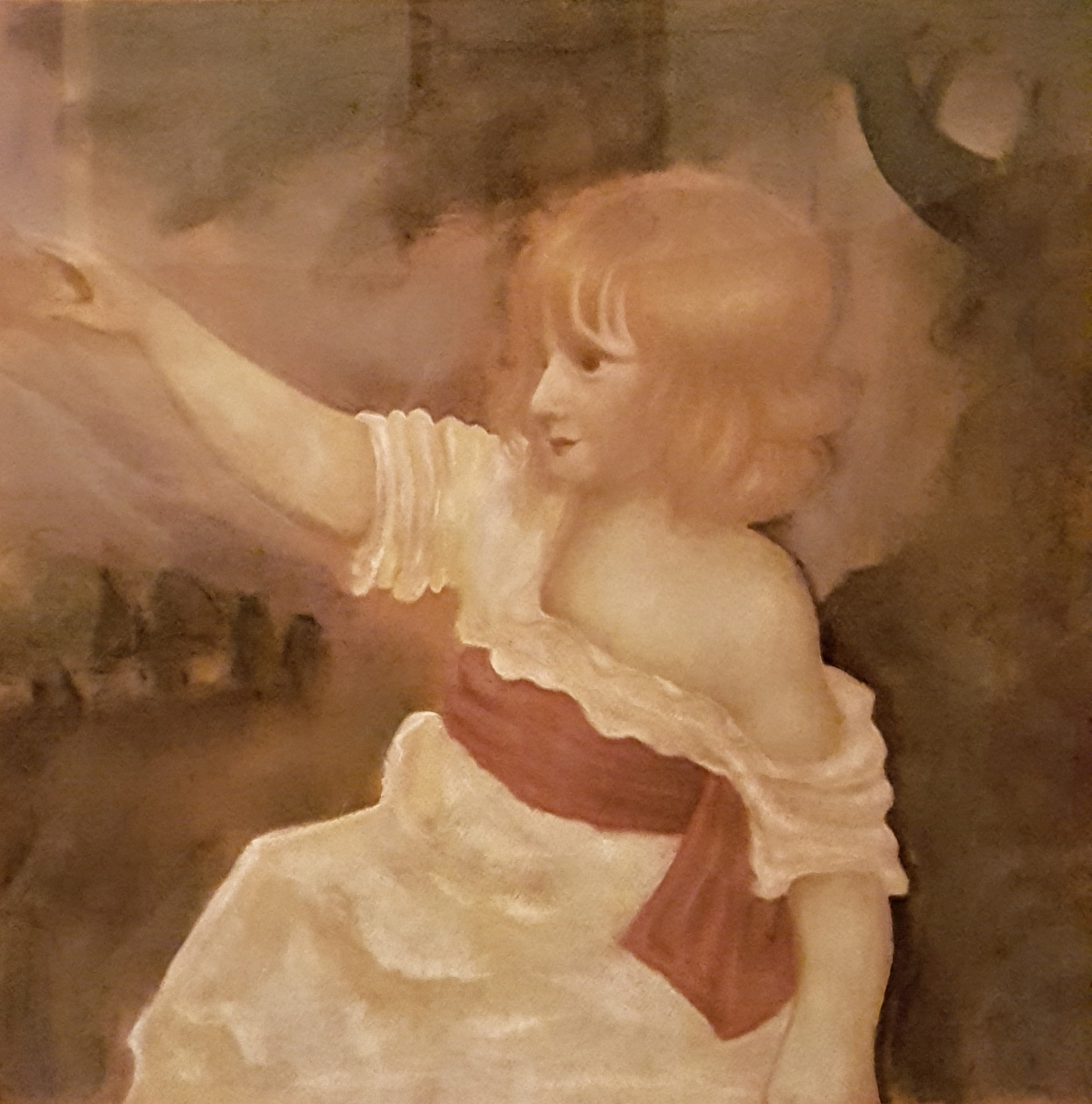 Pastel drawing of child pointing