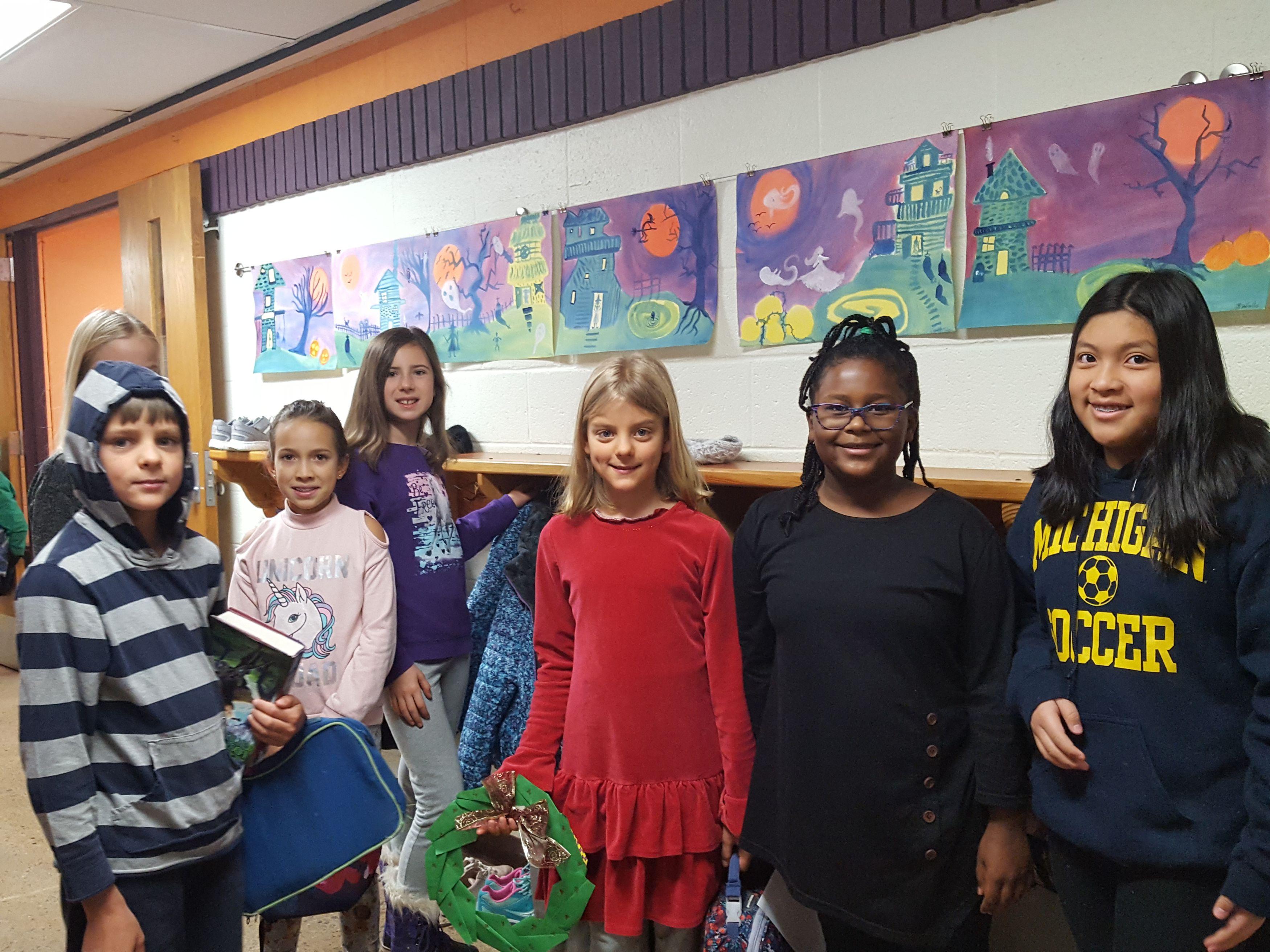 Group of students in school hallway