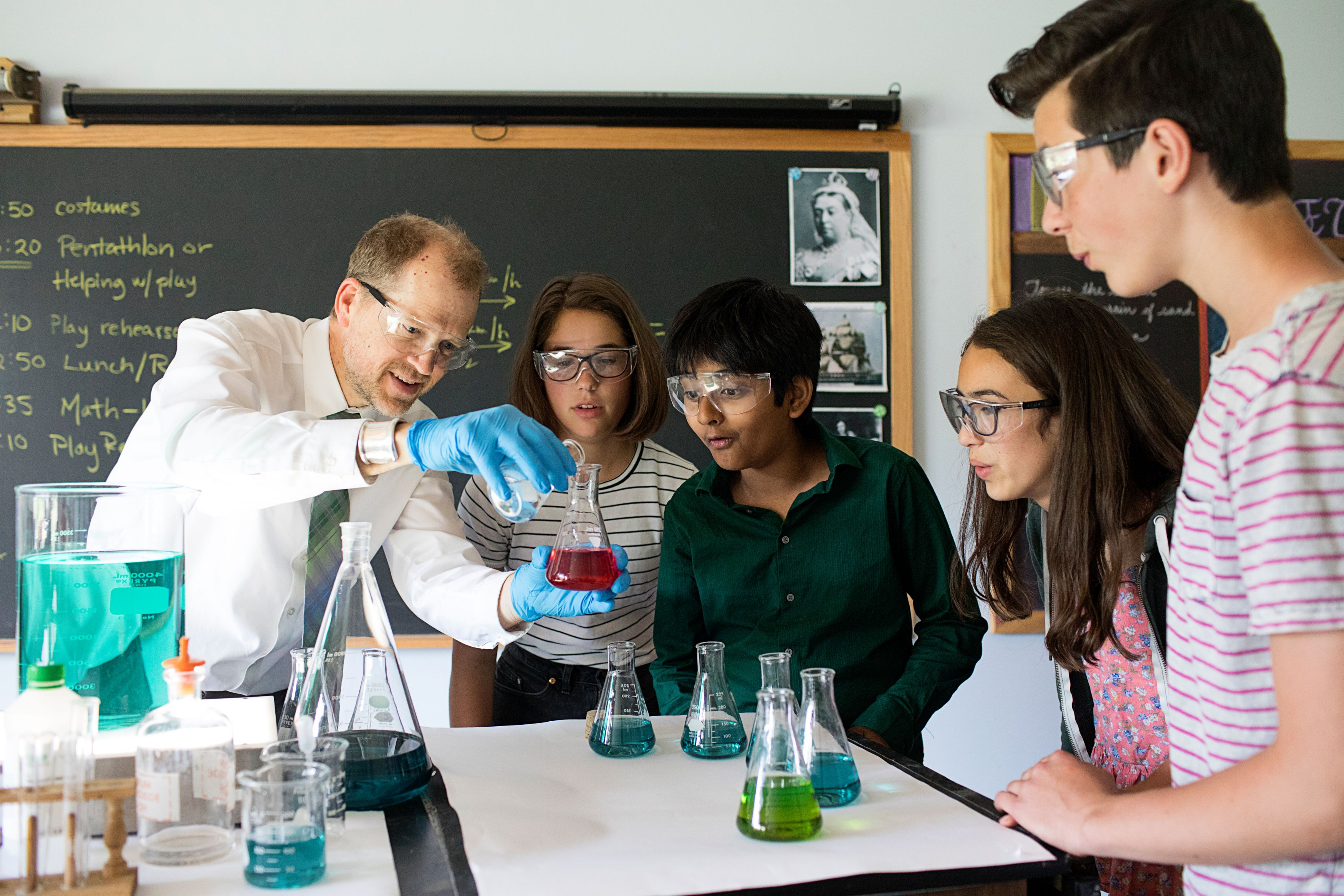 Chemistry Experiment with Teacher and Three Students