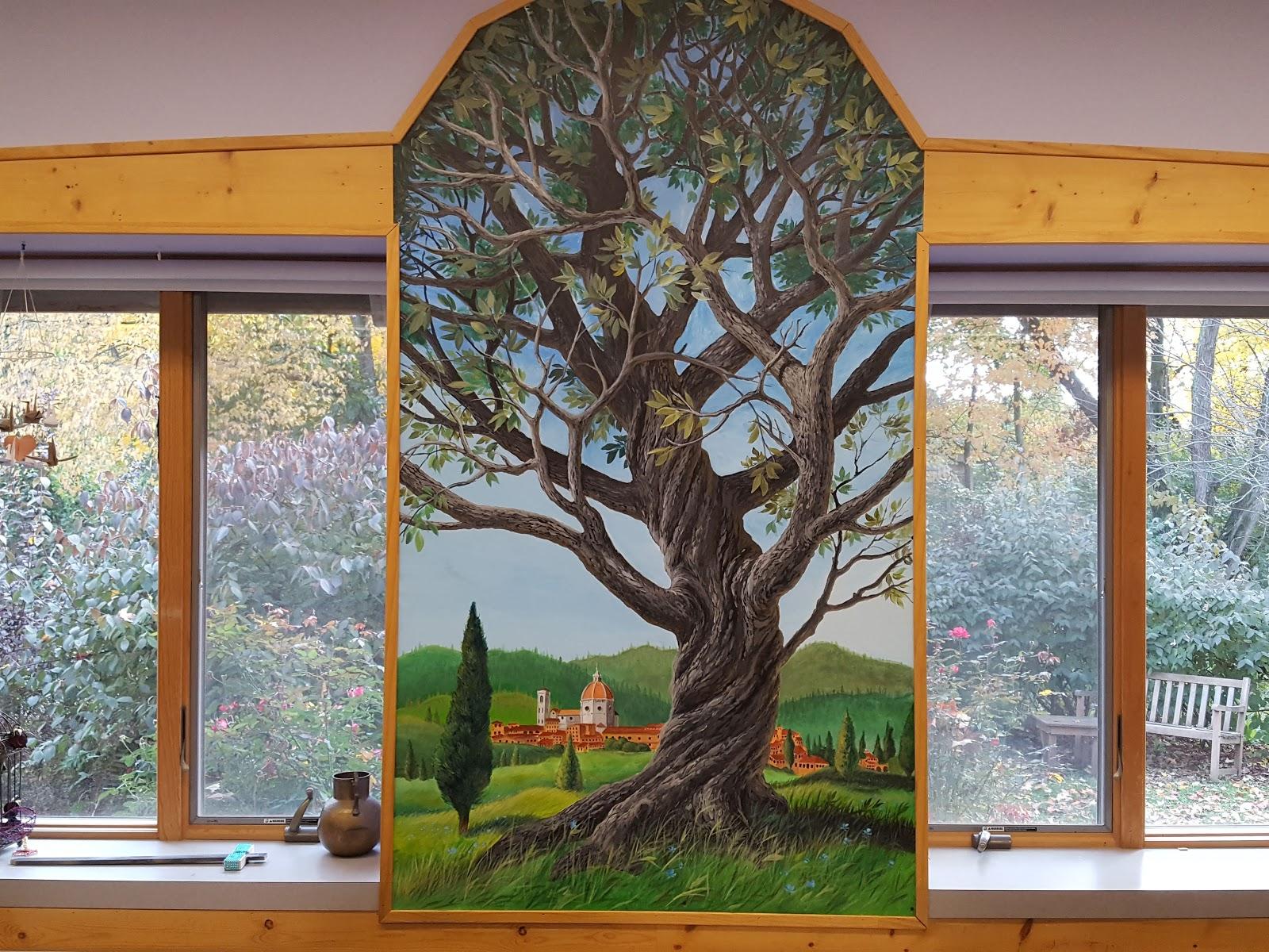Tree mural between two windows