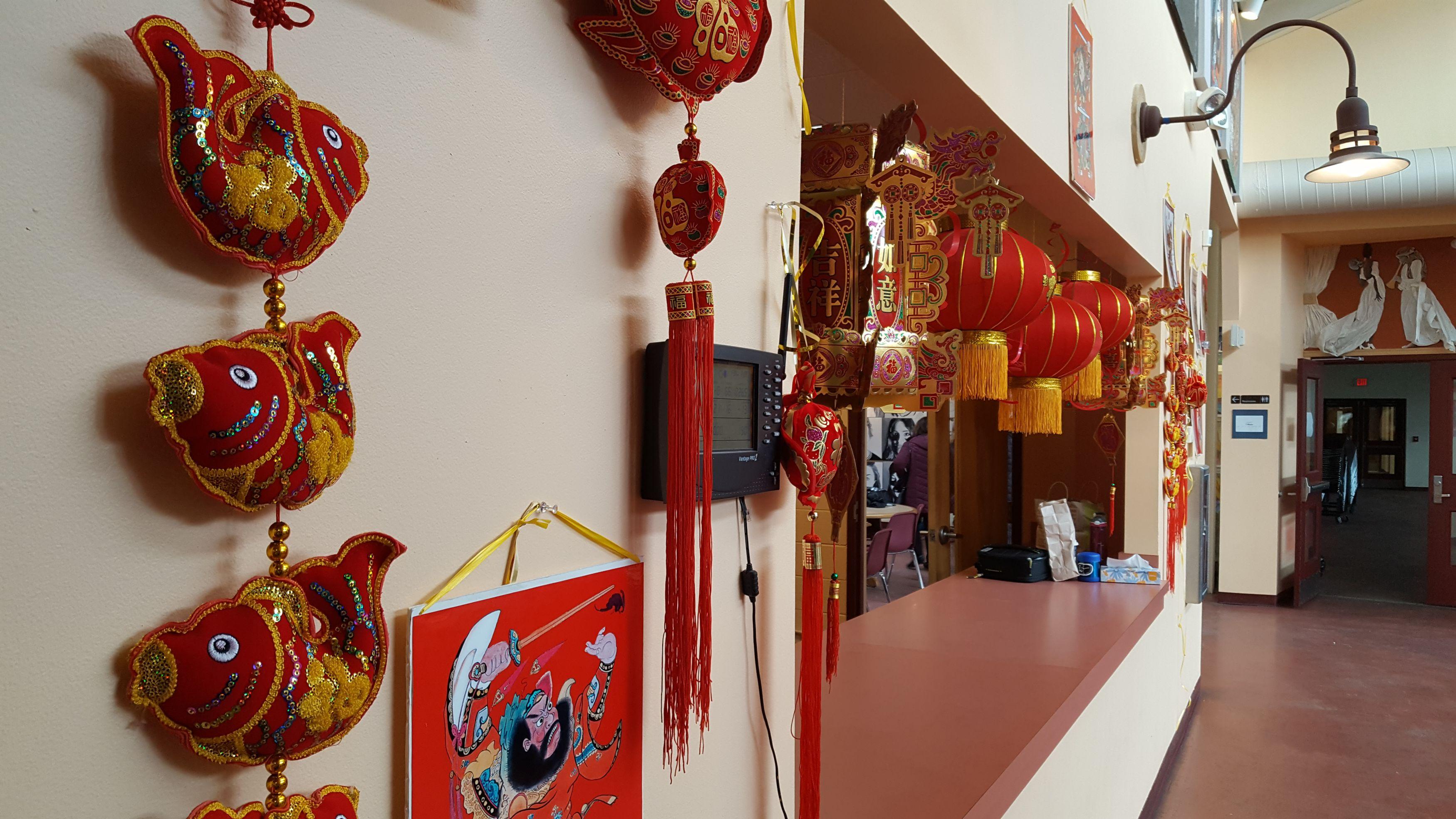School Hallway Decorated for Lunar New Year