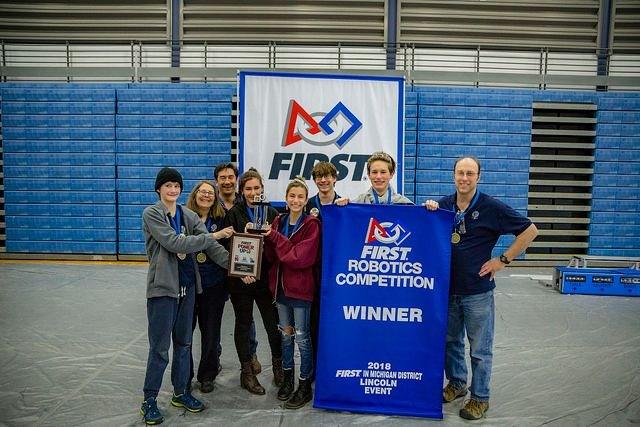 Robotics Team with Banner