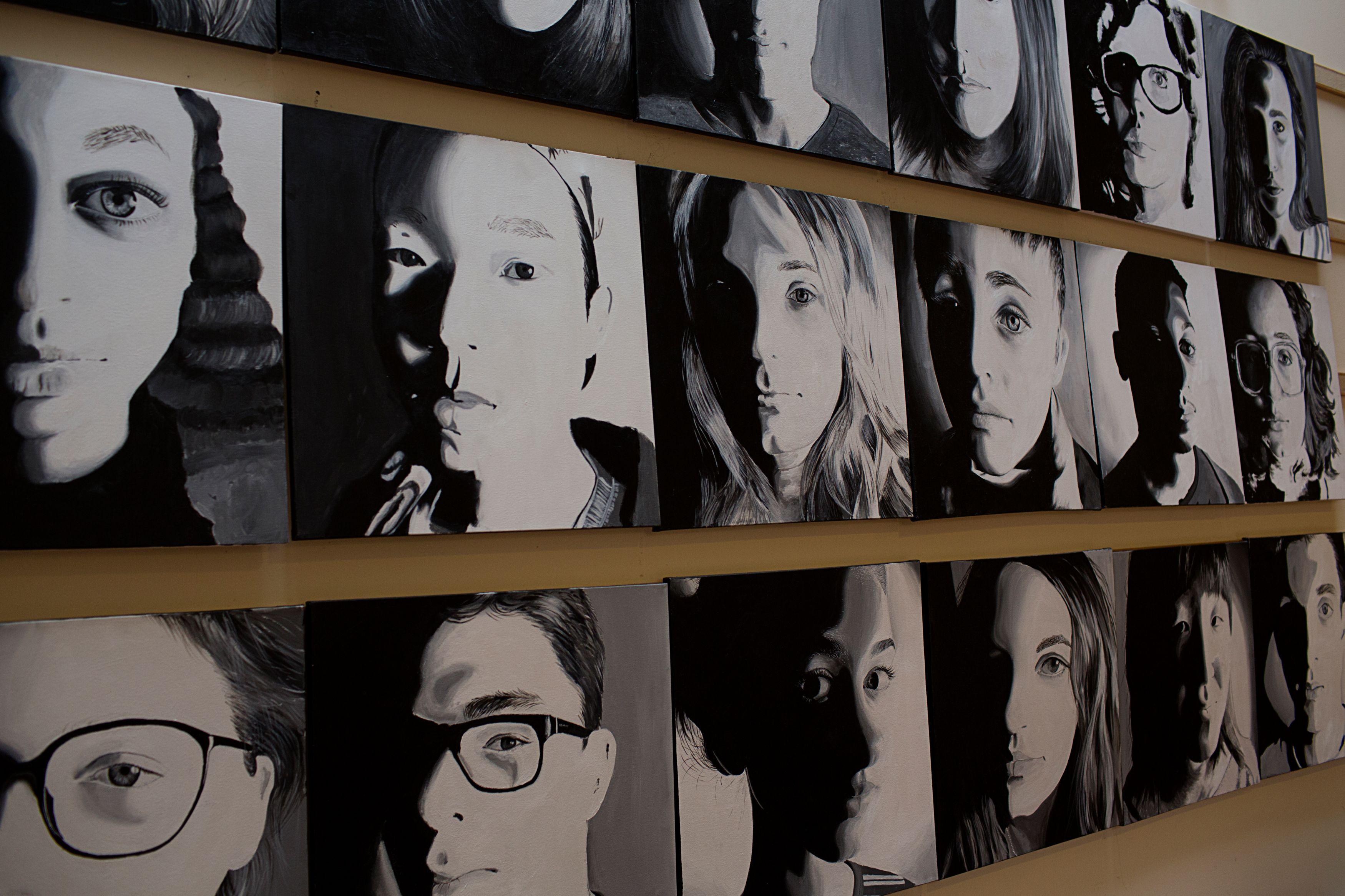 Several black and white portraits