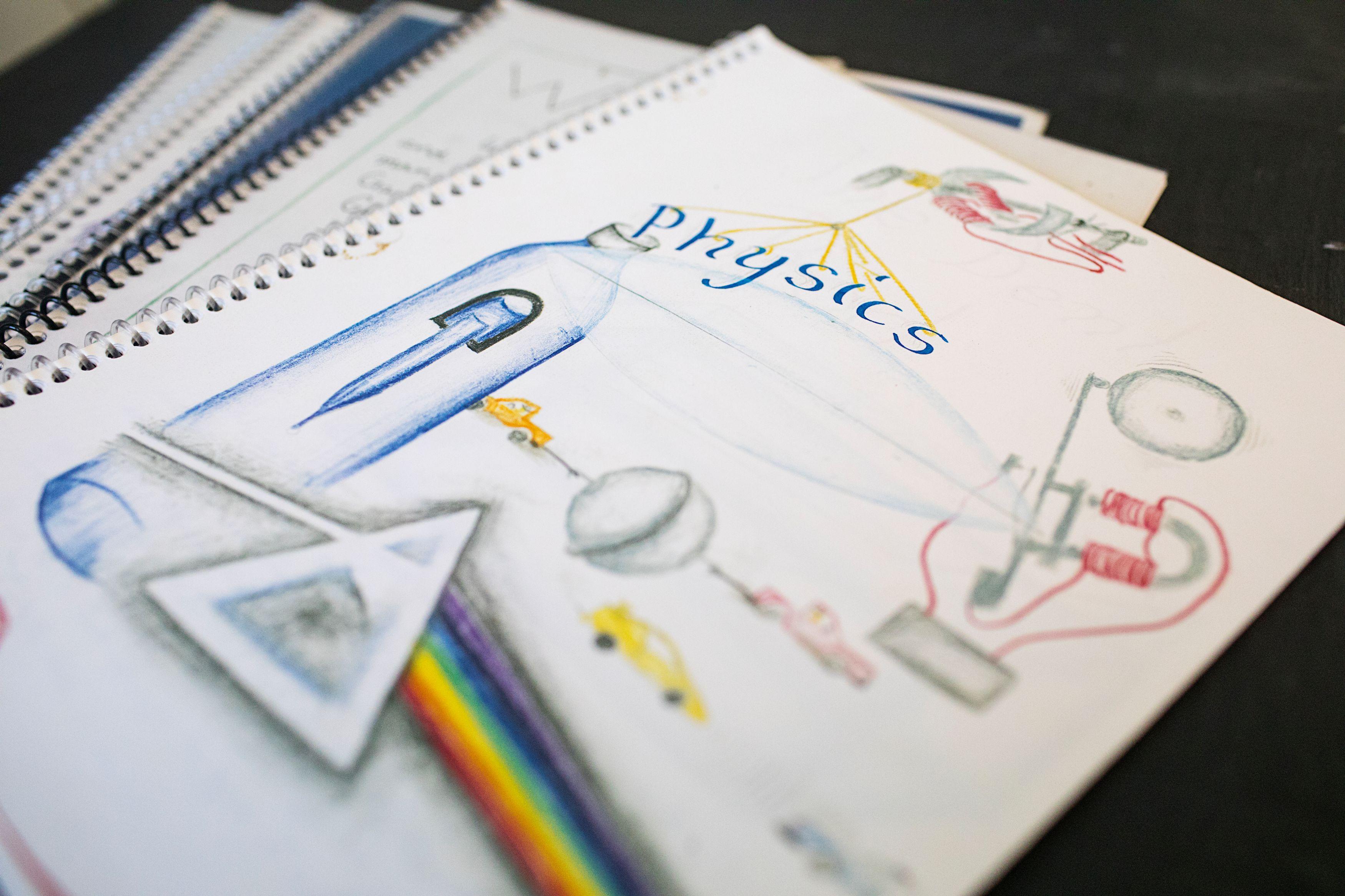 Student handmade textbook on light refraction