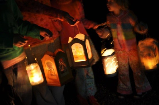 Lanterns Glowing in Dark