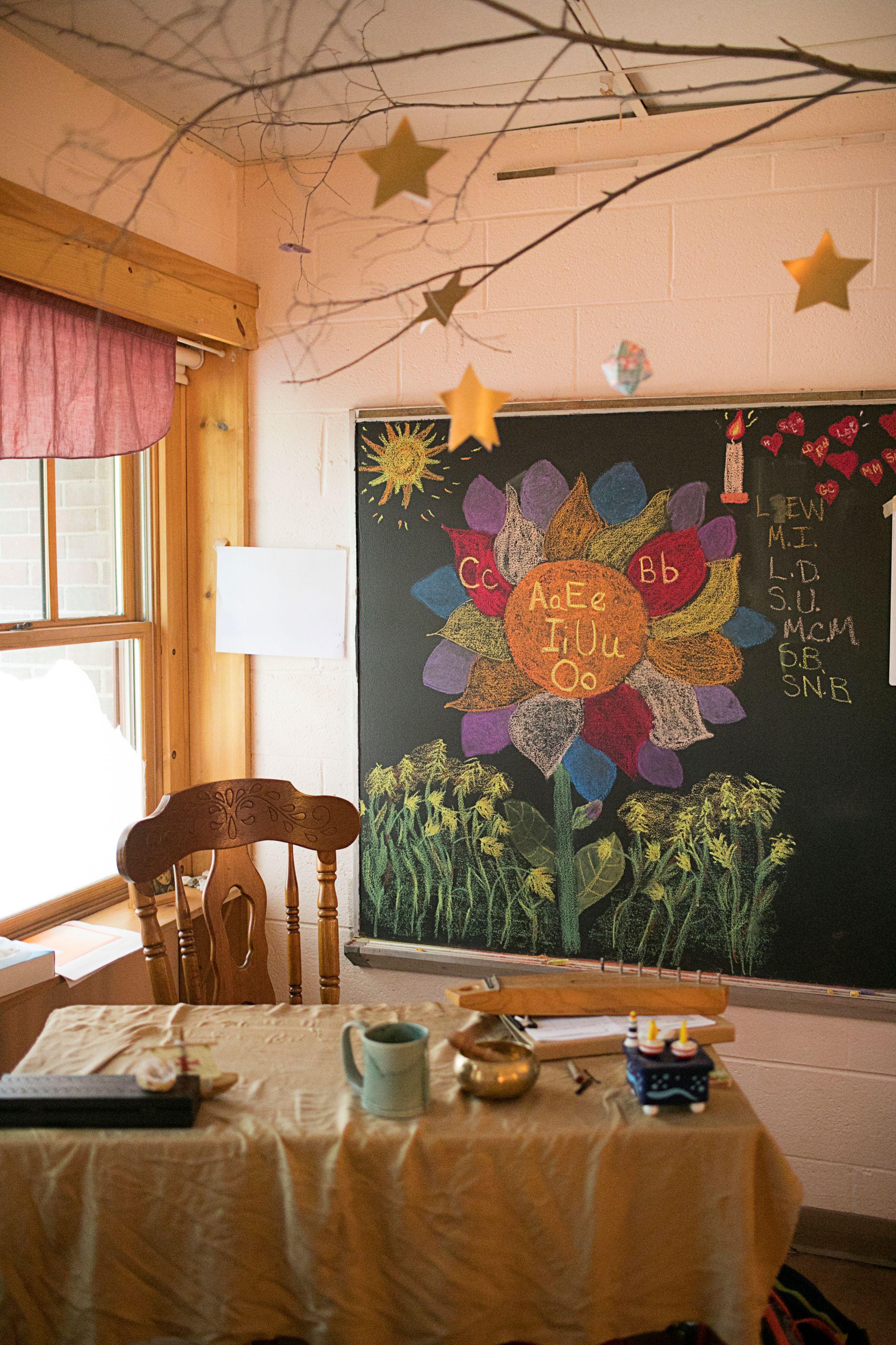 Kindergarten classroom desk and chalkboard