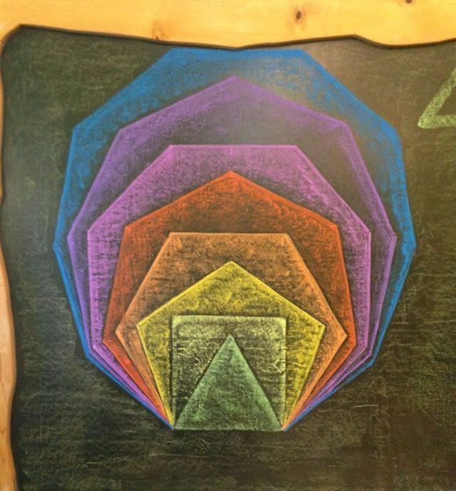 Concentric pentagons on chalkboard